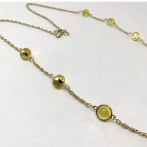 J crew long necklace yellow balls